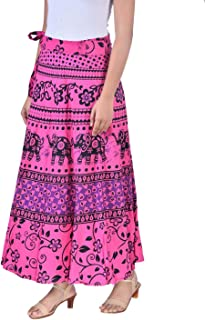Rangun Presents Jaipuri Printed Cotton Full Length Skirt (Free Size) Pink