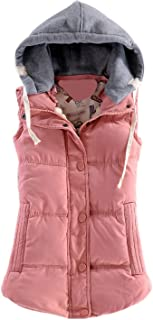 Women's Slim Sleeveless Quilted Removable Hooded Winter Puffer Vest Coat