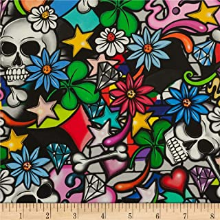Alexander Henry 0561076 Street Skulls Multi Fabric by The Yard, Multicolor