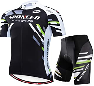 Sponeed Men's Cycling Kits Full Zipper Jerseys 4D Gel Padded Shorts Bicycle Wear Biking Clothing