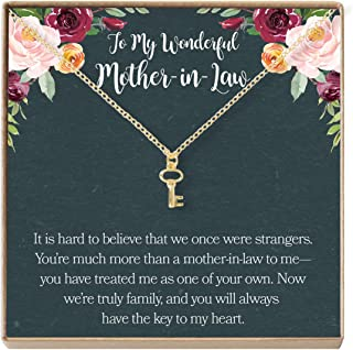 Dear Ava Mother-in-Law Gift Necklace: to My Mother-in-Law, Mother of My Husband, Key (Gold-Plated-Brass, NA)