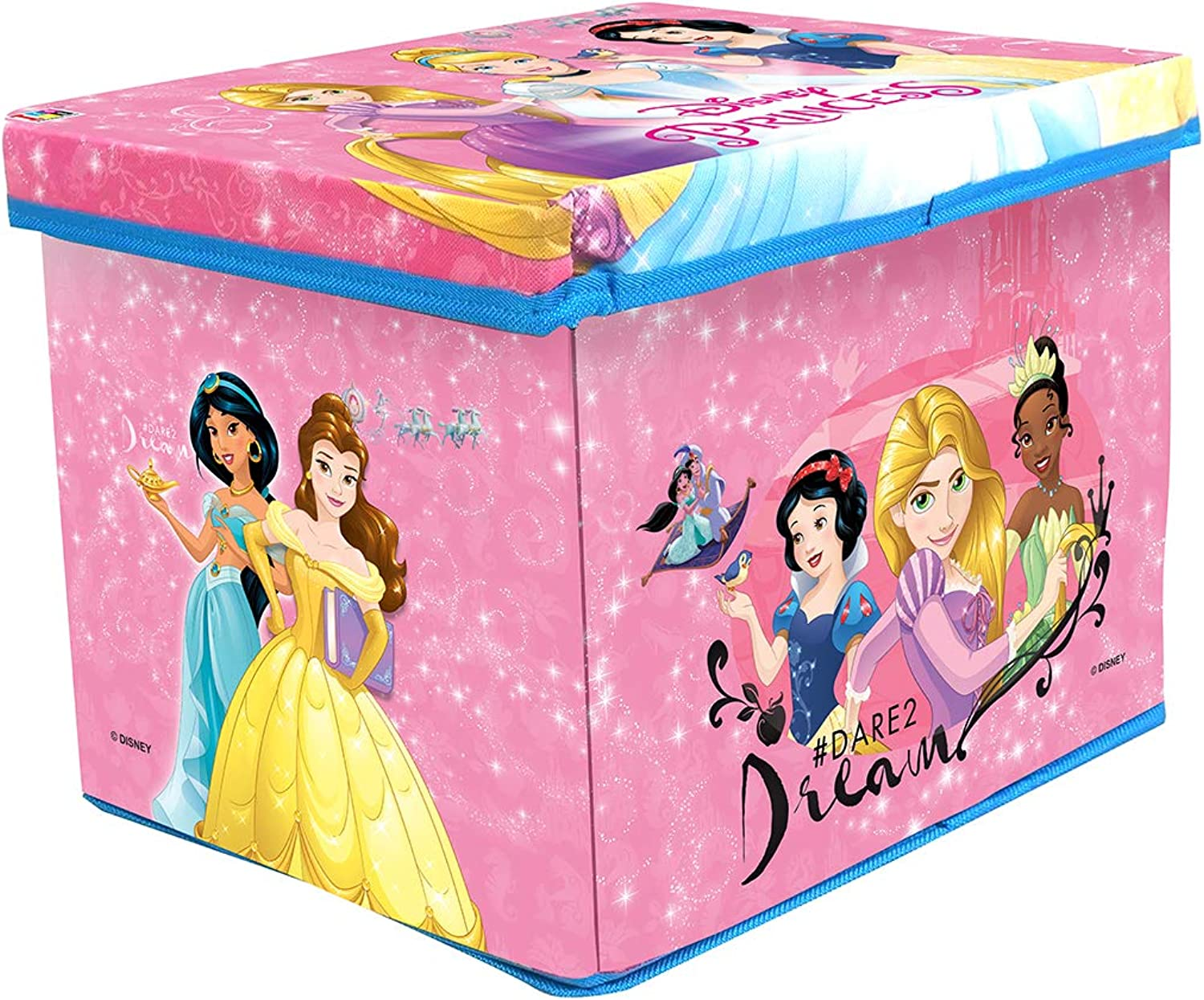 Disney Princess Toy Storage Box for Kids organizing Box & Sitting Stool for Kids Multipurpose use Premium Quality Multicolor Toy Box (color May Vary from Illustration)