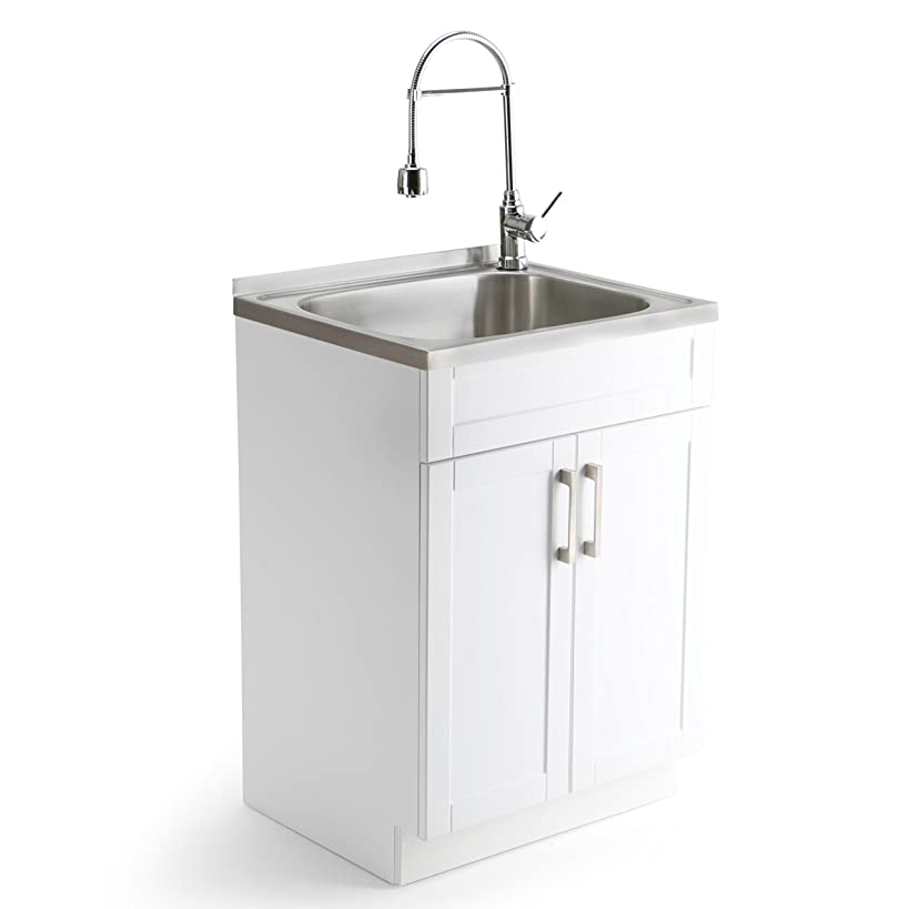 Simpli Home AXCLDYSS-24 Hennessy Contemporary 24 inch Laundry Cabinet with Faucet and Stainless Steel Sink