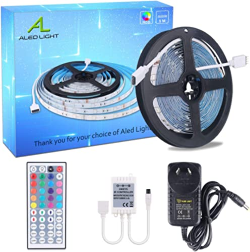 LED Strips Lights, ALED LIGHT Non-Waterproof 5050 RGB 5m Length 150 LED Multicolor Remote Control 44 Buttons and Powe...