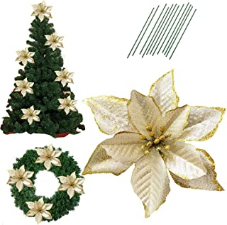5 Inch Glitter Artifical Wedding Christmas Flowers Glitter Poinsettia Christmas Tree Ornaments Pack of 12 (Gold)