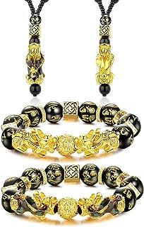 LOLIAS Pi Yao Feng Shui Bracciale Collana Set Perline Bracciale Ossidiana Nera Pi Xiu Bracciale Collana Cinese Intagliato ...