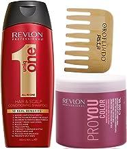 Revlon Uniq One Champu y Acondicionador 300 ml + Mascarilla ProYou Color Para Cabellos Coloreados Nutre e Hidrata 500 ml + Peine de Madera Gratis