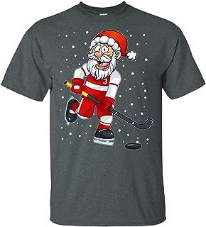 LeetGroupAU Funny Santa Clause Christmas Ice Hockey Kids Shirt for Boys T-Shirt