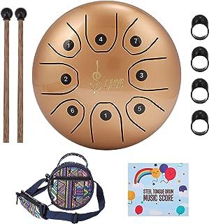 Steel Language Drum 8 Notes 5.5 inch Chakra Tank Drpan Handpan سازهای کوبه ای با کیسه مسافرتی بالشتی ، پتک ، 4 انگشت انتخاب منتخب برای موسیقی ، آموزش ، رفع فشار ، مدیتیشن ، اوقات فراغت