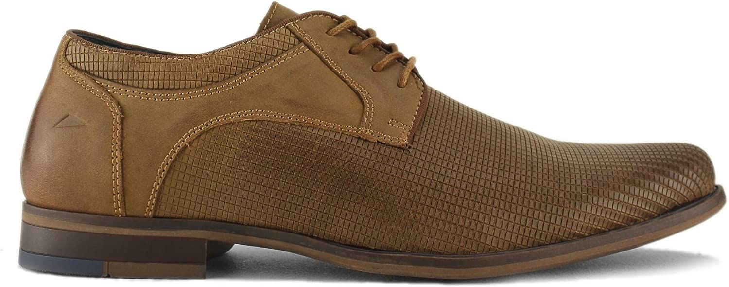 Front Duke Mens Textured Leather Derby shoes Tan