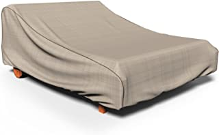 """Budge P2A01PM1 English Garden Double Patio Chaise Lounge Cover, 32""""H x 64""""W x 80""""D, Tan Tweed"""