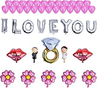 """NUOLUX 43pcs Romantic Wedding Foil Balloon Set - 16"""" I Love You KISS ME Lip Mylar Balloons Pink Heart Latex Balloons Flower Balloons and Diamond Ring Bride Bridegroom Balloons for Party Decoration"""