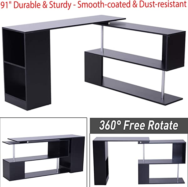 91 Durable Sturdy 360 Rotating Corner Desk And Storage Shelf Combo L Shaped Table Home Office With Smooth Coated Dust Resistant Top Surfaces Ideal For Your Office Home Black