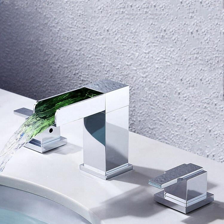 Rubinetto FANGQIAO SHOP LED Wasserhahn Küchenhahn LED Desktop Wasserfall Waschbecken Wasserhahn dreiteilig