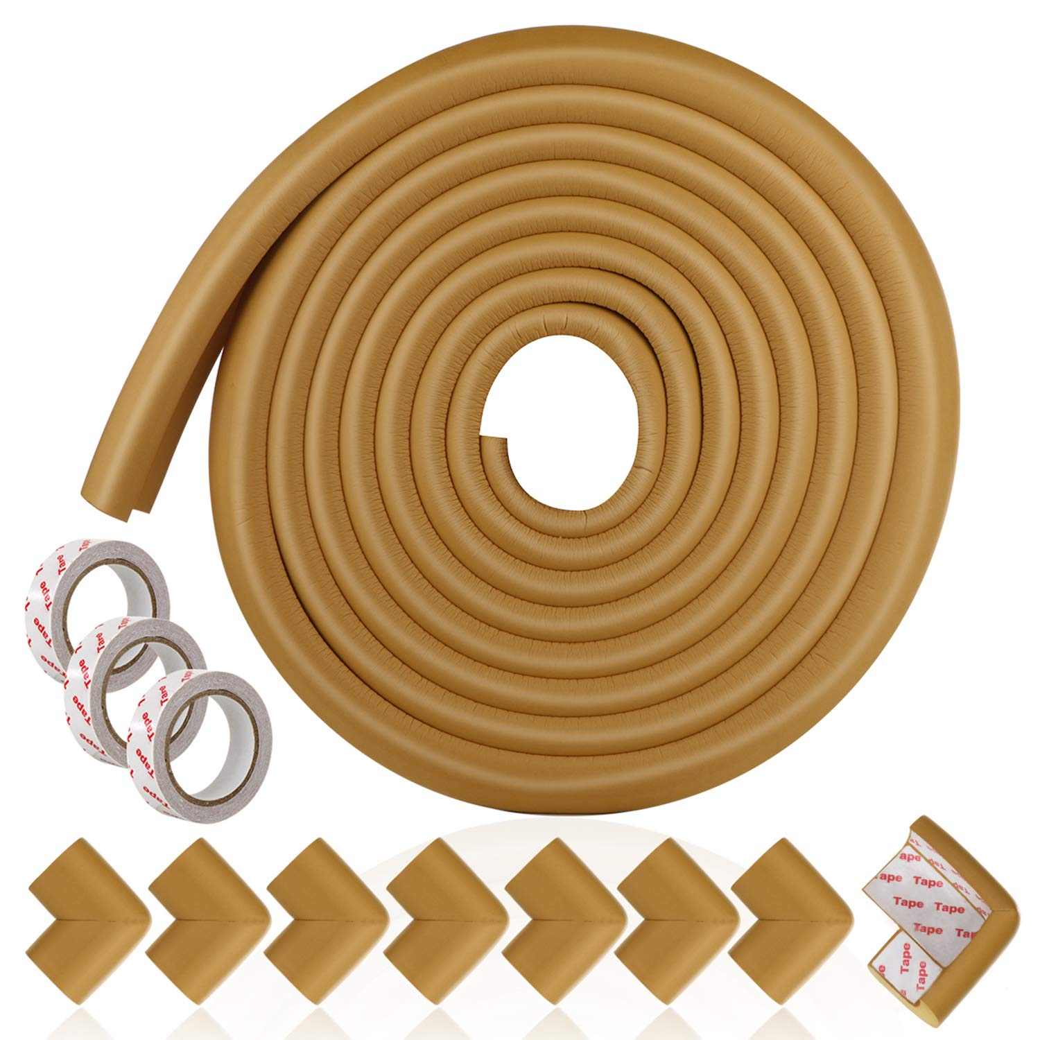 Baby Proofing Edge and Corner Guard Set, 16foot Furniture Side Bumpers and Foam Cushion with Adhesive Tapes, Safety Corner Protectors for Fireplace, Table, Countertop