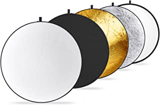 Neewer Round 5-in-1 Collapsible Multi-Disc Light Reflector 19.6 inches / 50 centimeters with Carrying Case - Translucent, ...
