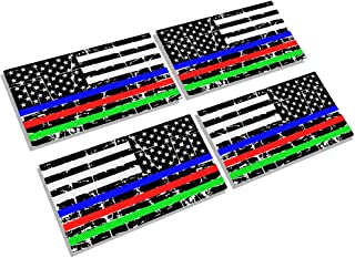 CREATRILL Reflective Distressed Thin Blue Red Green Line Decal Matte Black – 2 Pairs 3x5 in. American USA Flag Decal Sticker for Car, Truck, Hard Hat, Support Police Fire Officer Military Troops