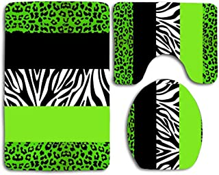 Huayuanhurug OneHoney Lime Green Animal Print Stripes Zebra Leopard Print 3 Pieces Bathroom Rug Set Contour Mat Toilet Seat Cover