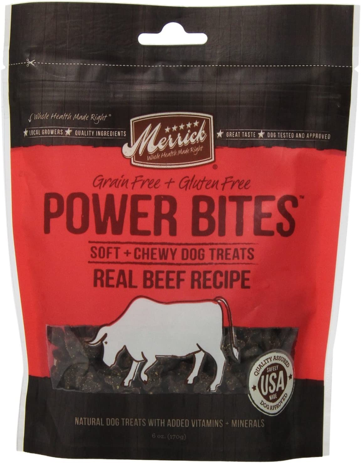 Merrick Power Bites Real Max 41% OFF Texas Beef Recipe Sales for sale 2 PACK Treats 6oz