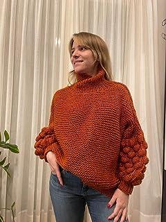 Sueter de punto tejido a mano con cuello alto, color terracota, talla única, de acrílico, para mujer