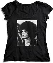 MYMERCHANDISE Angela Davis Black Panther T-Shirt Camiseta Shirt para la Mujer Camisa Negra Women's Women Tshirt 100% Algodón Regalo De Cumpleaños Navidad Mujer