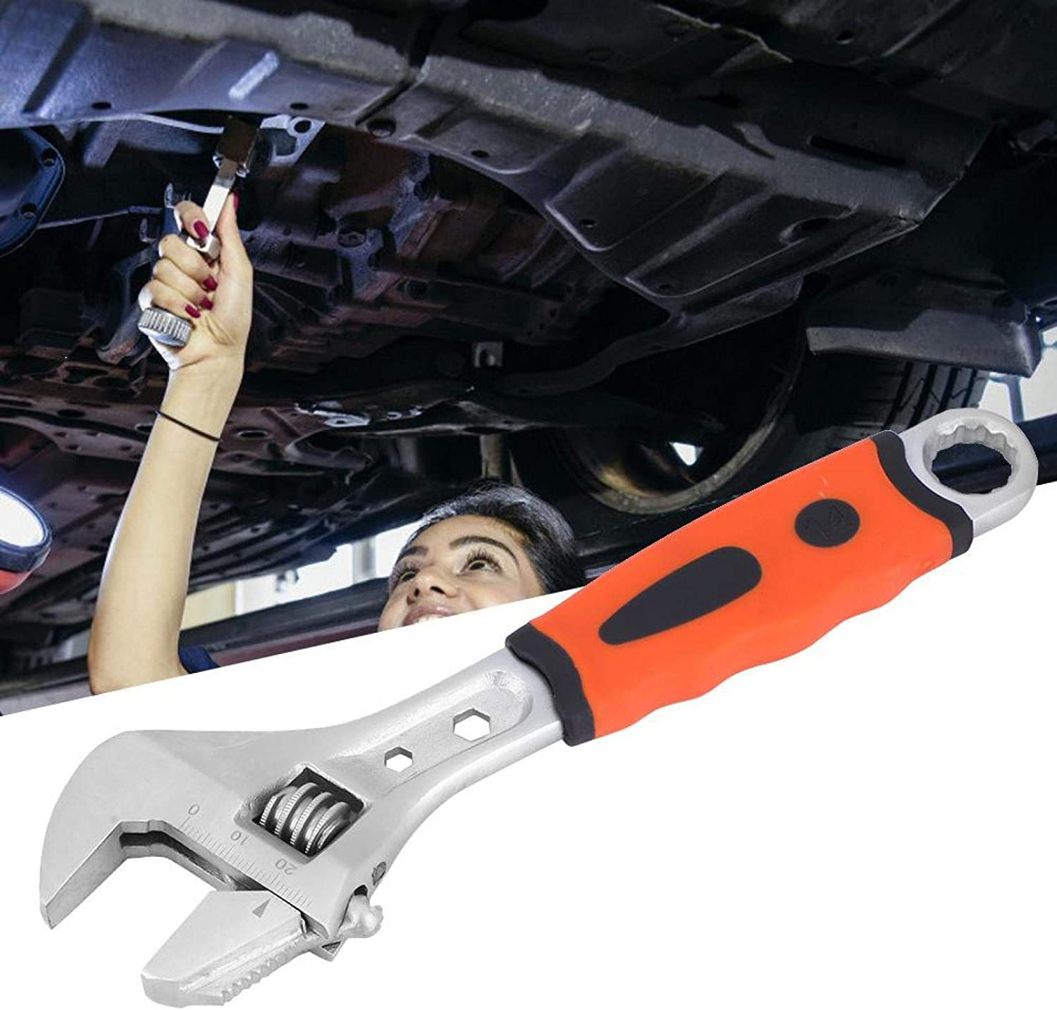 Adjustable Wrench Plumber Tool Ergonomic Wear Resistant High Precise Spanner For Plumbing for Car 8 inches