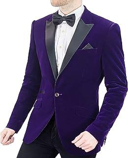 Cavani Men's Rosa Slim Fit Velvet Vintage Jacket Blazer