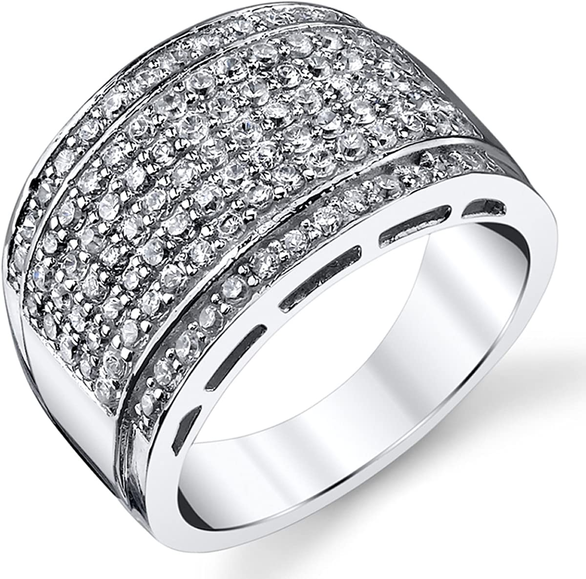 Sterling Silver Men's 4 years warranty High Polish Micro W Band Ring Spasm price Pave Wedding