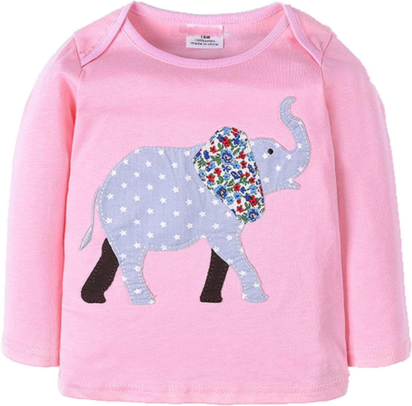 Elephant 100% Cotton Little Girls Toddle Sleeve Clothes Product Top New sales Long