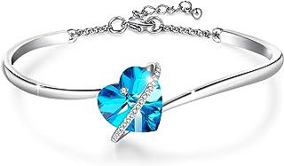 GEORGE · SMITH Bracciali Bracciale regolabile in argento con storia d'amore da donna con cristalli di cuore rosa blu - Il ...