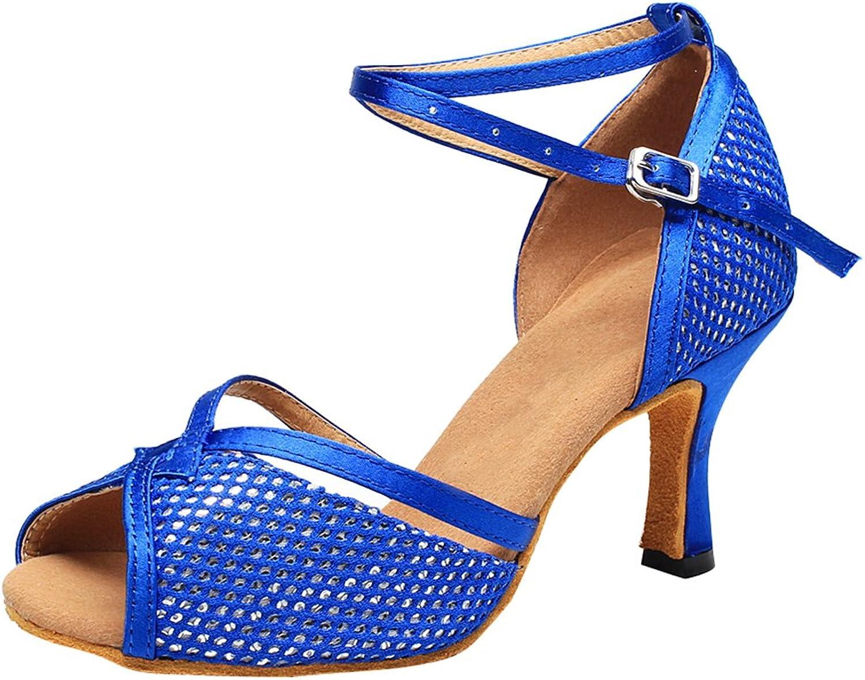 ABBY Products Abby 7111 Womens Salsa Dance shoes Latin Tango Cha-Cha Ballroom Party Wedding Sudue Sole Kitten Heel Peep Toe Satin Ankle Strap
