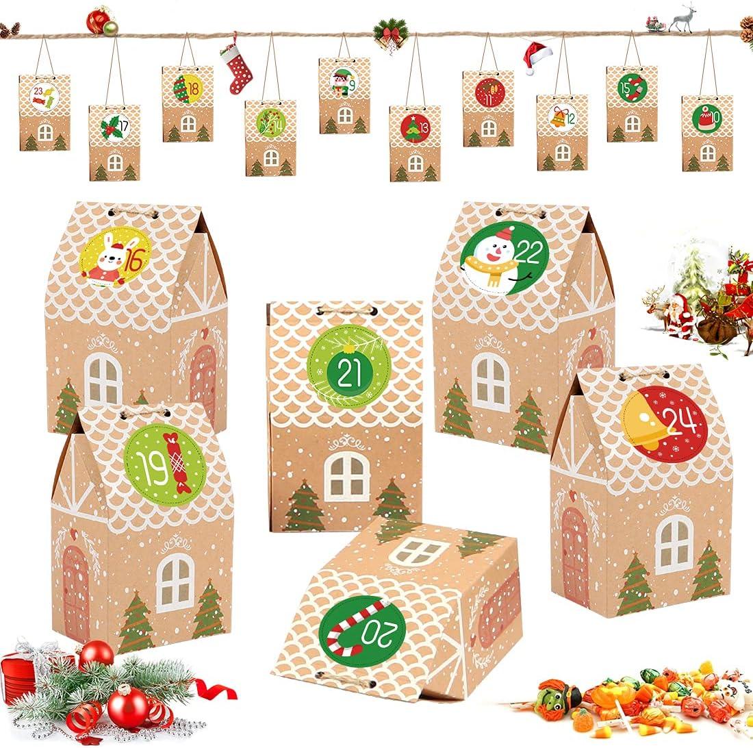 Sprinlot Cajas de Regalo Navidad, 25 Cajas de Regalo para Fiestas de Navidad, 2 Pegatinas de Adviento, Caja de Dulces Navideños, Calendario de Adviento, Decoración de Navidad DIY