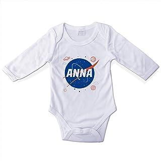 Body Bebé Divertido Personalizado con Nombre. Regalos Personalizados para Bebés. Bodies Personalizados Manga Larga. Varias Tallas. NASA