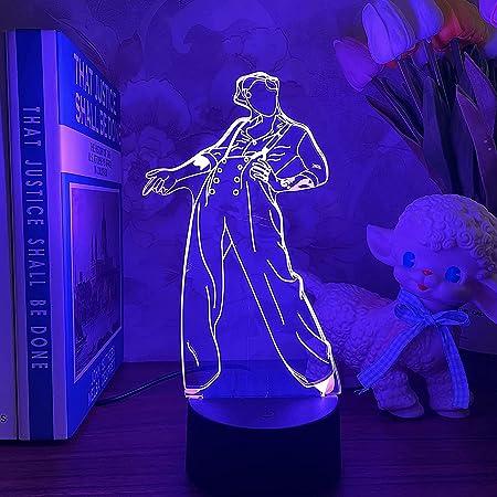 HOKVJ Luz De Noche Led 3d Harry Styles Lámpara De Regalo Para Fanáticos Decoración De Dormitorio Luz Led Sensor Táctil Que Cambia De Color Lámpara De Escritorio De Trabajo Harry Styles