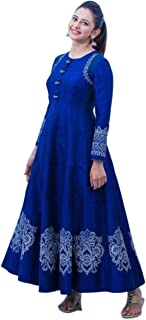 Ashwati Women's Rayon Printed Anarkali Kurti Blue