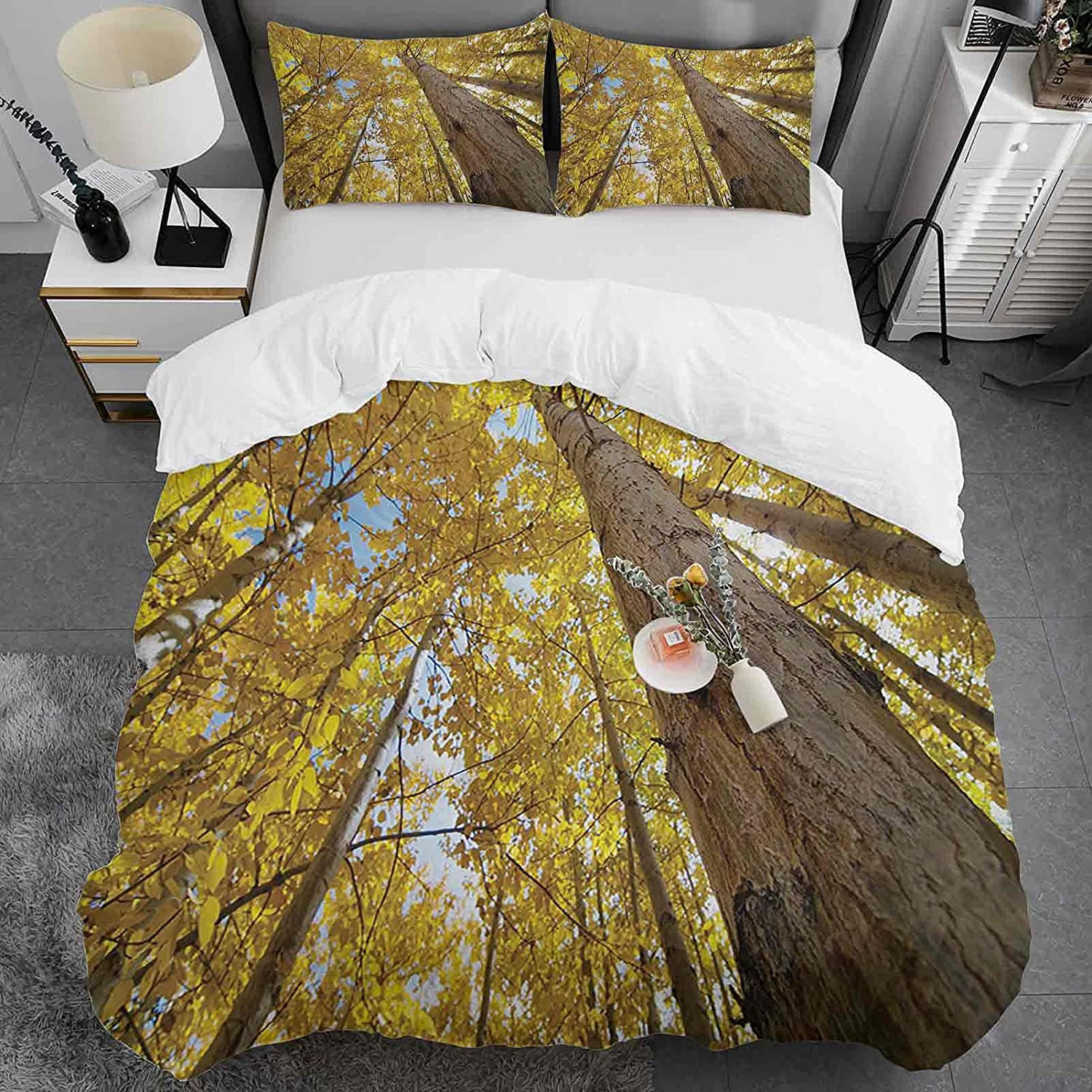 Nature Duvet Attention brand Cover Reservation Set Queen Size View Image Up of Fall Aspe