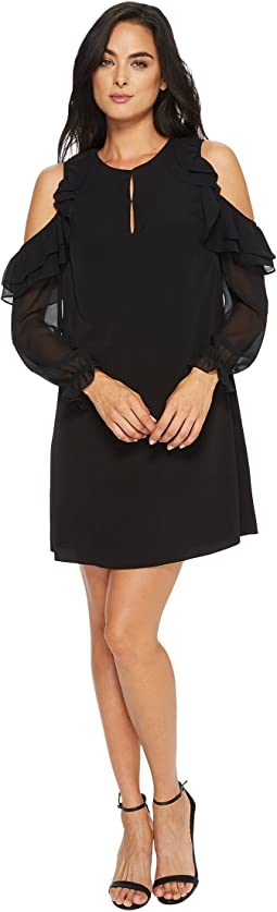CeCe Isabelle Ruffle Sleeve Cold Shoulder Dress