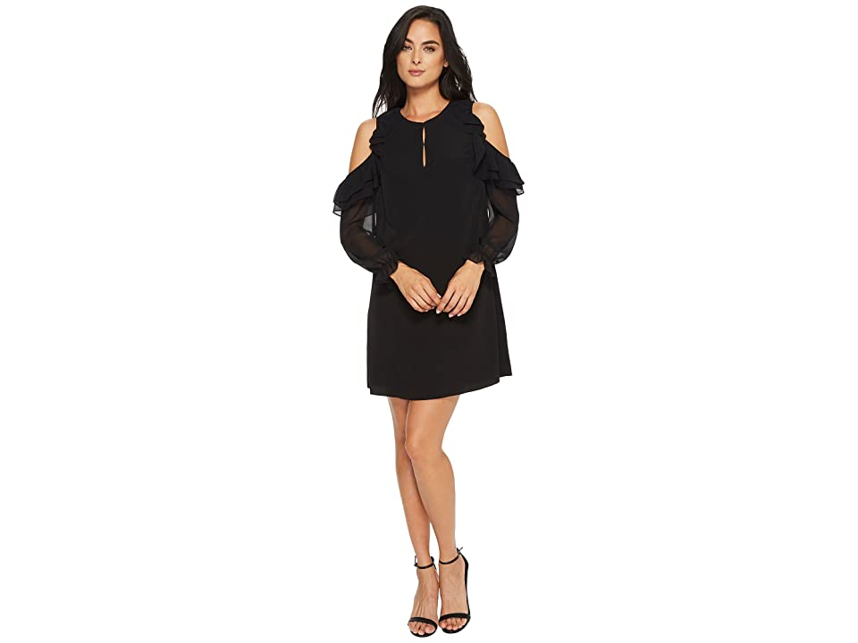 CeCe Isabelle Ruffle Sleeve Cold Shoulder Dress (Rich Black) Women