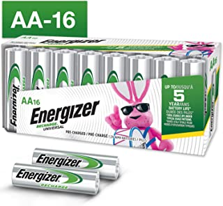 Energizer Rechargeable AA Batteries (16-Pack) Pre-Charged, 1.2V Nimh 2, 000 mAh Rechargeable Batteries, 16 Count