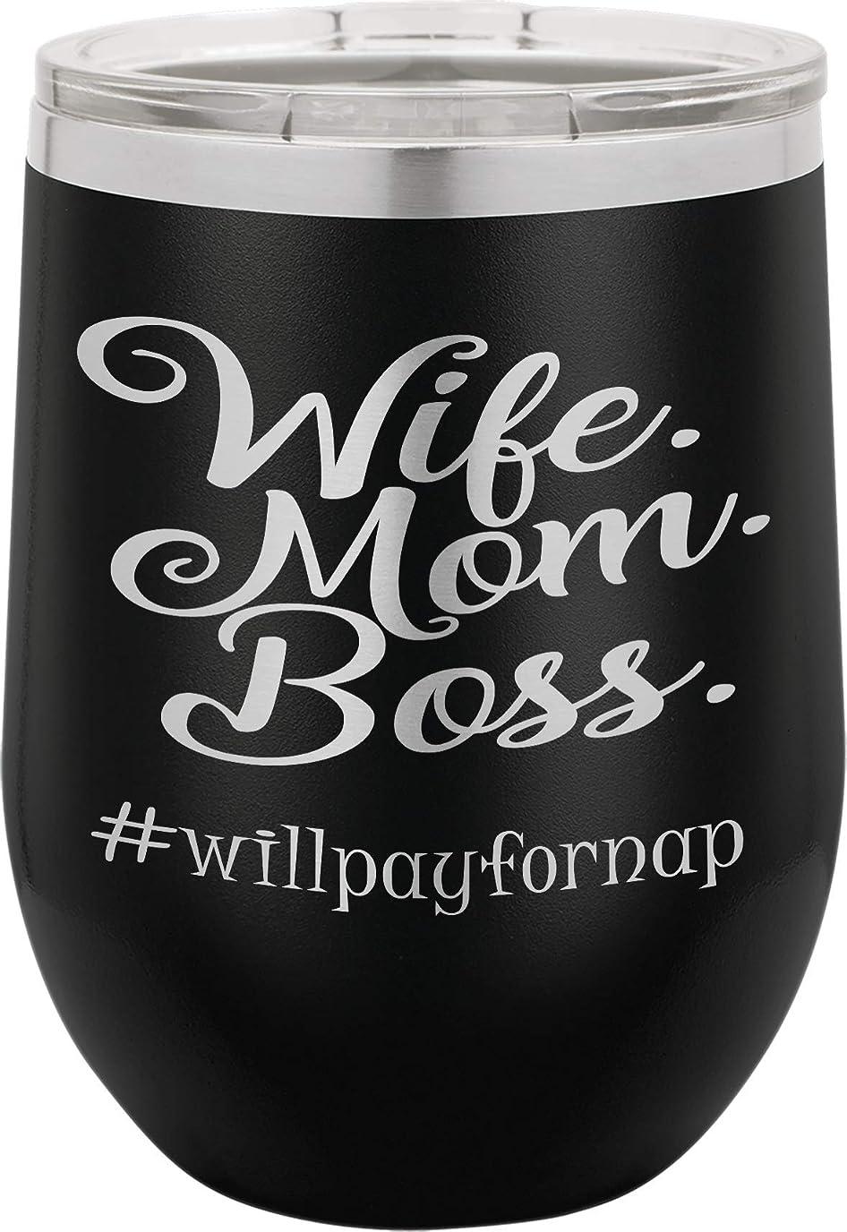 税金汚染する人口Wife Mom Boss | 12オンス ステンレススチール ステムレス ワイングラスタンブラー 蓋付き | 二重壁真空断熱 | 女性への素敵なギフト ブラック