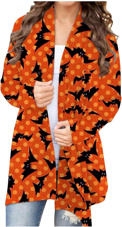 Aukbyas Halloween Sweatshirts for Women,Women's Long Sleeve Open Front Cardigan Pumpkin Cat Skeleton Ghost Lightweight Shirt