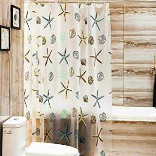 SKEIDO PEVA Starfish Printing Shower Curtain Waterproof Mildew Proof Bathroom Decor Transparent Bathtub Cover Bath Curtain...