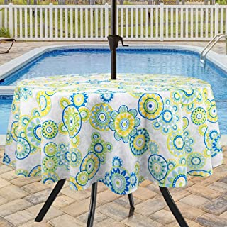 Eforcurtain Outdoor Decorative Polka Dots Printed Fabric Table Cloth Waterproof with Zipper, Lime Green 60 Inch Round Umbrella Table Cover Spill Proof Stain Resistant