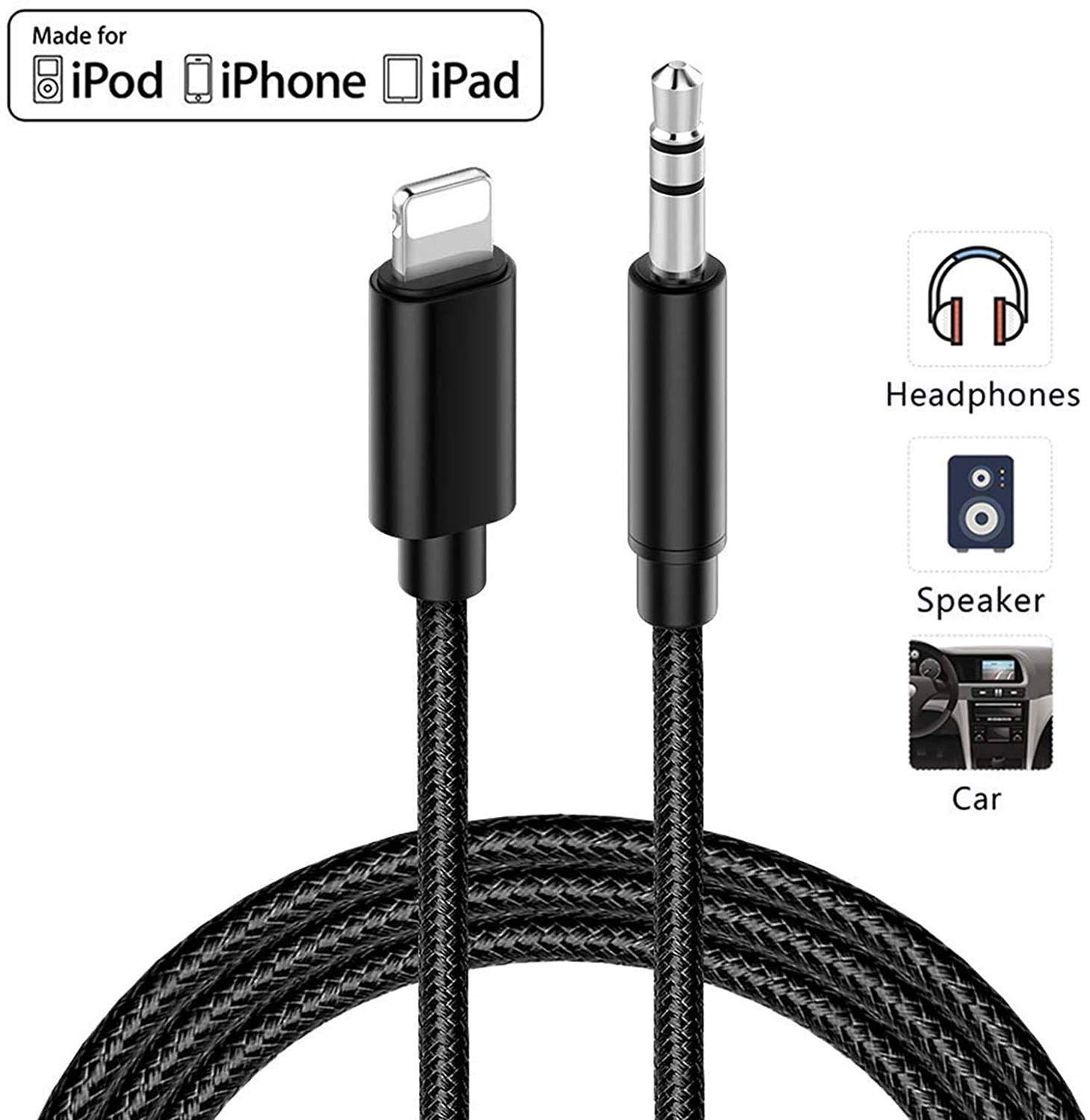 Lightning to 3.5mm Male Aux Cable,aux Cord for iPhone for car Nylon Aux Cable Compatible with iPhone11// iPhone XR//XS//XS Max//X//8//8Plus//7//7 Plus Apple MFi Certified Support iOS 13
