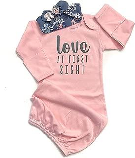 Newborn Baby Girl Love at First Sigth Floral Nightgowns Headband Sleepwear Sleeping Bag
