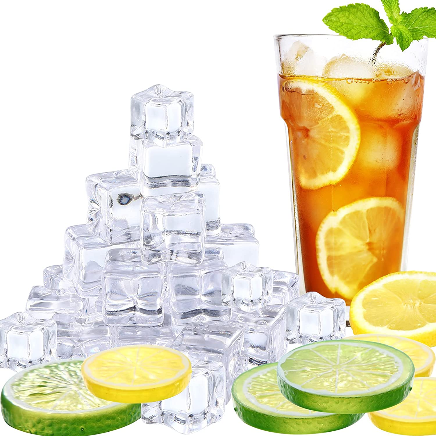 30 Pieces Clear Fake Max 59% OFF Ice Cubes Slices Lemon and Al sold out. Acryl Artificial