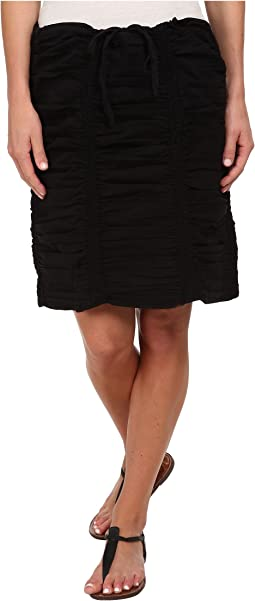Double Shirred Panel Knee Length Skirt