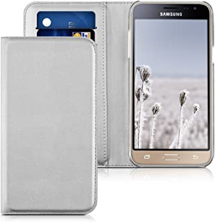kwmobile Flip Case for Samsung Galaxy J3 (2016) DUOS - Smooth PU Leather Slim Folio Cover Protective Phone Holder - Silver