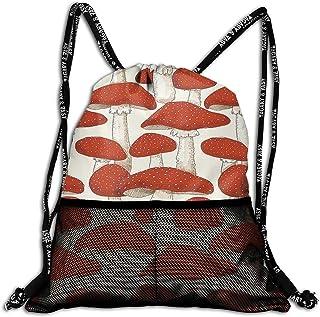 リュック ムスカリアきのこ 巾着バックパック スポーツバッグ ジムバッグ カジュアル 運動 ショッピングバッグ 大容量 防水 軽量 多機能 通勤 通学 出張 旅行 遠足 登山 男女兼用