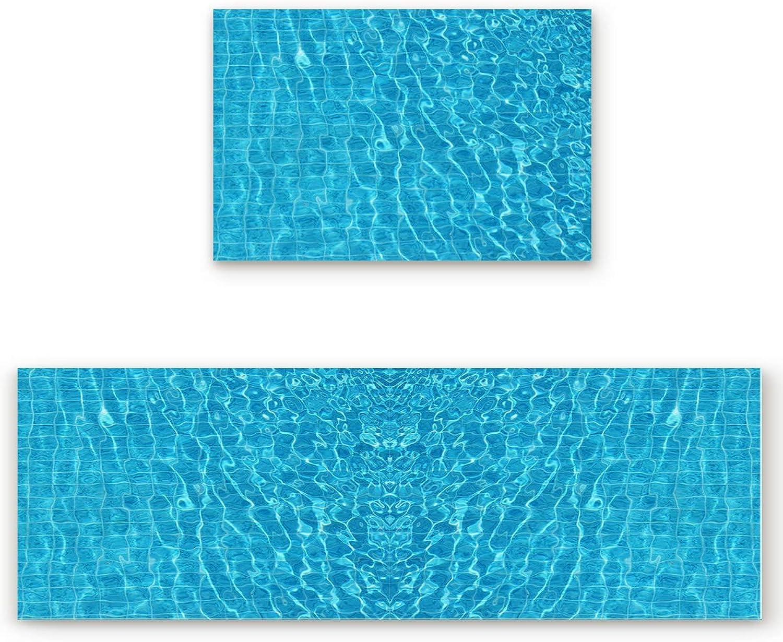 KAROLA 2 Piece Kitchen Mat Non-Slip Doormat Bathroom Runner Rug Set - Summer Holiday Swimming Pool 19.7 x31.5 +19.7 x63